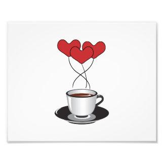 Taza de café, globos, corazones - negro blanco arte con fotos