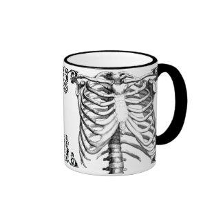 Taza de café gótica esquelética de Ribcage