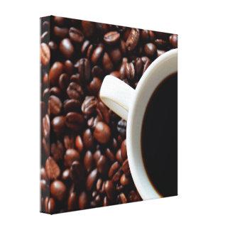 Taza de café, granos de café lona envuelta para galerías