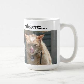 Taza de café gruñona del gato, lo que….