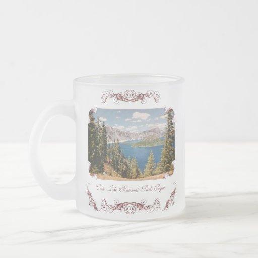 Taza de café helada Oregon del lago crater