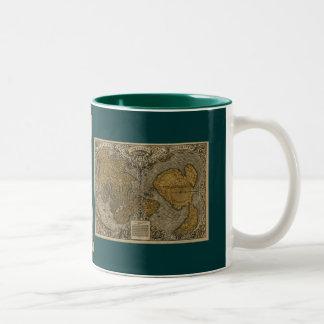 Taza de café histórica del mapa de Viejo Mundo de