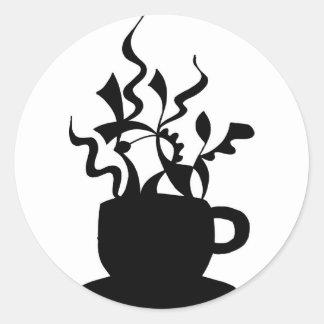 Taza de café - ilustraciones dibujadas mano pegatina redonda