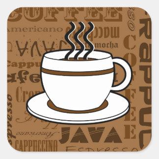 Taza de café - impresión de las palabras del café pegatina cuadrada