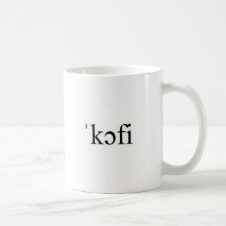 Taza de café internacional del alfabeto fonético