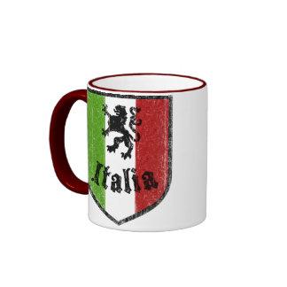 Taza de café italiana del vintage de la bandera