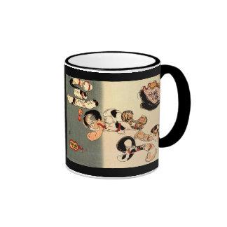 Taza de café japonesa del arte del gato