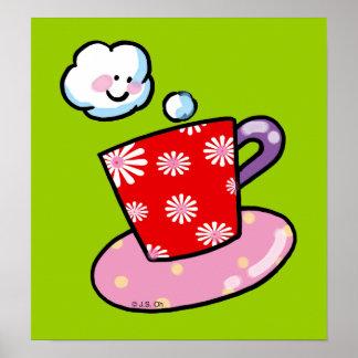 Taza de café linda con vapor impresiones