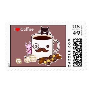 Taza de café linda del bigote con las galletas y sellos