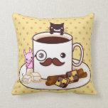 Taza de café linda del bigote con los animales del cojin