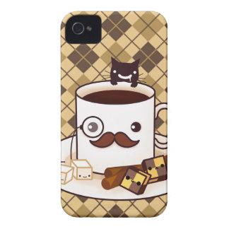 Taza de café linda del bigote en argyle marrón iPhone 4 Case-Mate cobertura