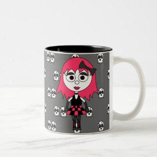 Taza de café linda del chica del gótico del dibujo