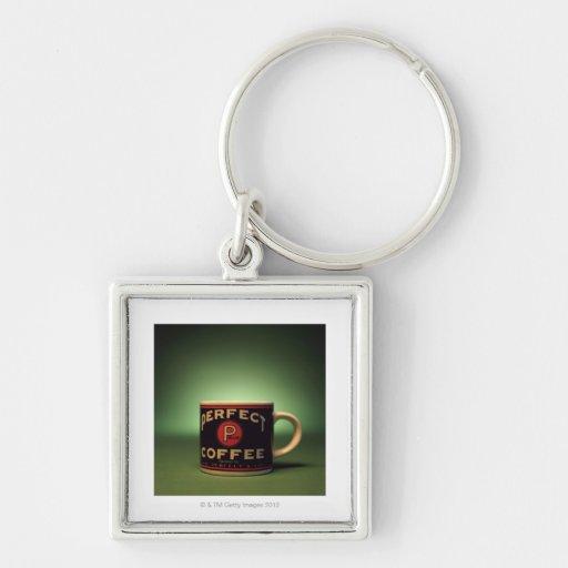 Taza de café llavero cuadrado plateado