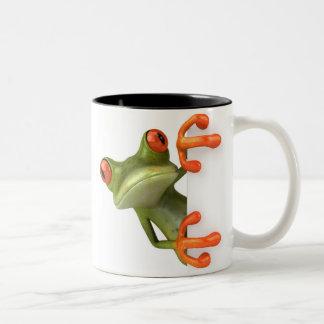 Taza de café loca de la rana arbórea