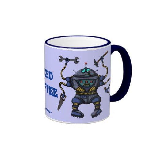 Taza de café loca divertida del robot