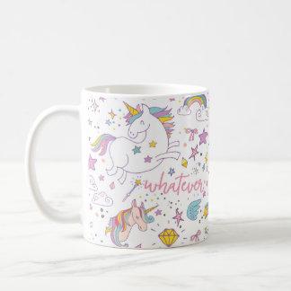 Taza de café mágica del unicornio