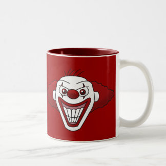 Taza de café malvada del payaso