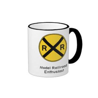 Taza de café modelo del entusiasta del ferrocarril