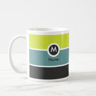 Taza de café moderna del monograma - amarillo/gris