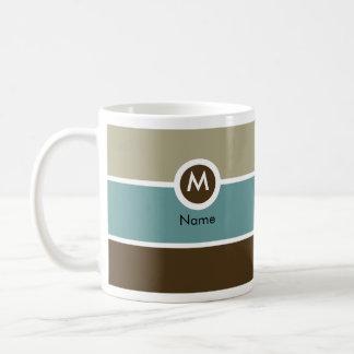Taza de café moderna del monograma - azul/Brown