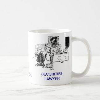 Taza de café muerta del abogado de las seguridades