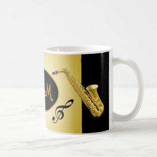 Taza de café musical del instrumento del saxofón