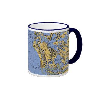 Taza de café náutica de la carta de la isla de Mar
