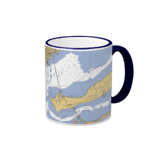 Taza de café náutica de la carta del puerto de Pen