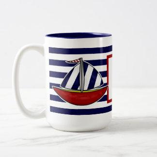 Taza de café náutica del velero