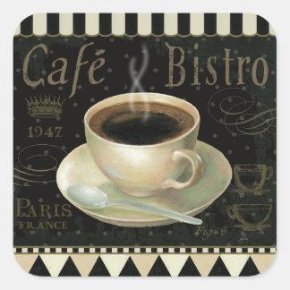 Taza de café negra pegatina cuadrada