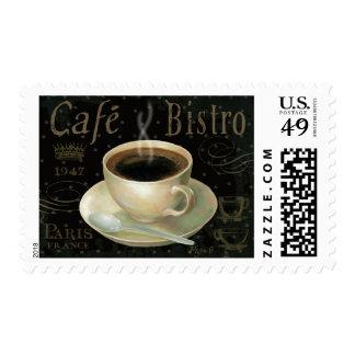 Taza de café negra sellos