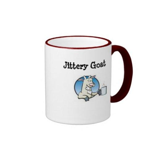 Taza de café nerviosa de la cabra