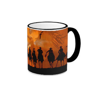 Taza de café occidental del rancho del caballo del