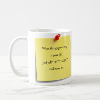 Taza de café pegajosa de la nota de la torsión del
