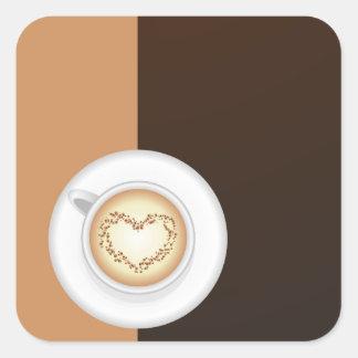 Taza de café pegatina cuadrada