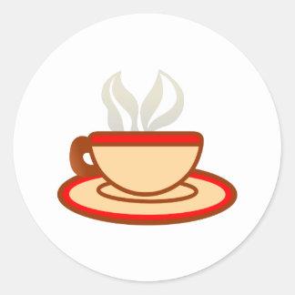 Taza de café pegatina redonda