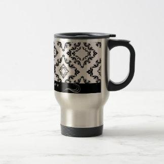 Taza de café personalizada damasco negro de moda d