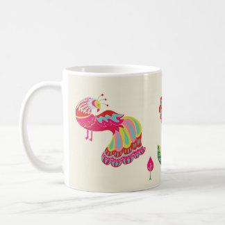 Taza de café popular psicodélica del faisán