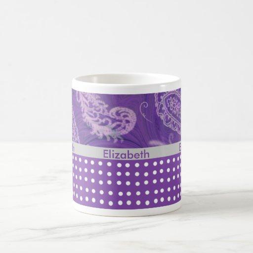 Taza de café púrpura de Paisley