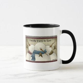 Taza de café remilgada del trío del muñeco de
