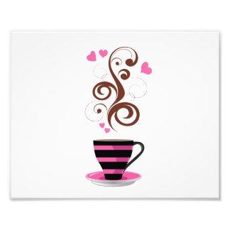 Taza de café, remolinos, corazones - Brown negro Impresión Fotográfica