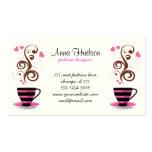 Taza de café, remolinos, corazones - Brown negro r Plantillas De Tarjetas Personales