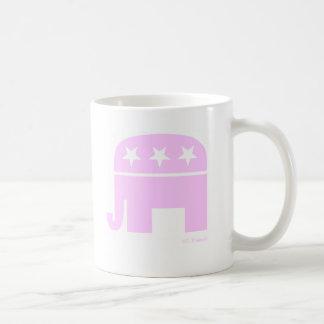 Taza de café republicana del elefante rosado de la