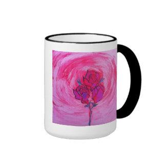 Taza de café retra de los rosas