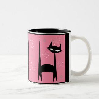 taza de café retra del arte pop del rosa del gato