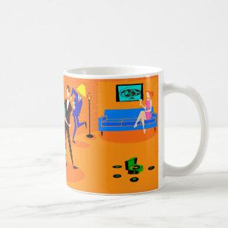 Taza de café retra del cóctel del dibujo animado