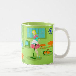 Taza de café retra moderna del ama de casa de los