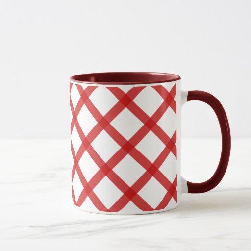 Taza de café retra roja de las casillas blancas