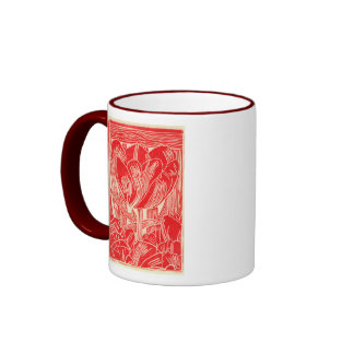Taza de café roja de Linocut del tulipán