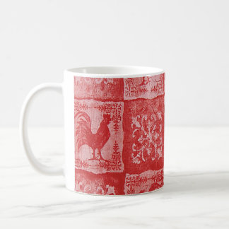 Taza de café roja del gallo del país francés